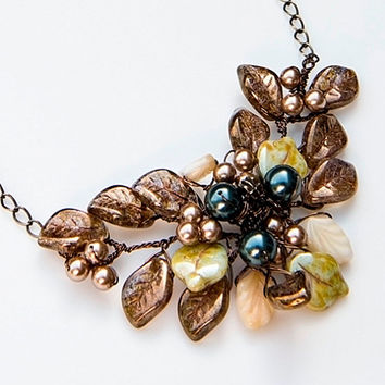 Brown Blue Bead Necklace, Flower Necklace, Nature Jewelry, Bridal Jewelry