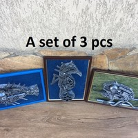 Steampunk painting, steampunk wall decor, steampunk wall hanging, steampunk wall art, steampunk wall sculpture, seahorse, chameleon, fish