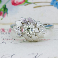 Retro Diamond Cocktail Ring | 1950s Engagement Ring | Unique 14k White Gold Ring | Floral Ring | European Cut Diamond Ring | Size 8
