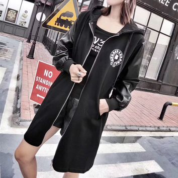 """""""Chrome Hearts"""" Women Casual Fashion Horseshoe Letter Pattern Leather Long Sleeve Zip Cardigan Middle Long Section Hooded Coat"""