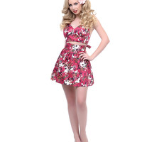 1950s Style Floral Scarlet Two Piece Set