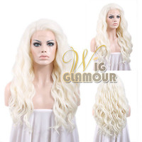 """Long Curly Wavy 24"""" White Platinum Blonde Lace Front Synthetic Wig Heat OK"""