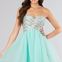 Strapless Short Beaded Prom Dress