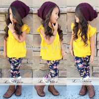Newest brand summer Girl's sets fashion Brand Baby girl Sets cotton suit Kids beauty clothing girl yellow t-shirts+flower pants