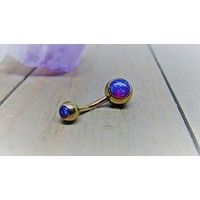 """Purple opal belly button ring 14g rose gold titanium internally threaded 3/8"""" length curved barbell"""