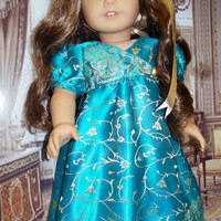 RESERVED LISTING FOR p.m Turquoise Evening . Regency Dress with headband early 1800's, beading, for American Girl doll (18 inch)
