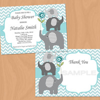 Baby Shower Invitation Boy Baby Shower Invitation Elephant Baby Shower Invitations (79a) - Free Thank You Card - Editable -Instant Download