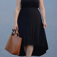Black Sleeveless High Waist Plus Size Dress