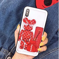 LV X Supreme Stylish Couple Glass Cute Violent Bear Pattern Glass Mobile Phone Shell For iphone 6 6s 6plus 6s-plus 7 7plus iPhone 8 8 Plus iPhone Red I13224-1