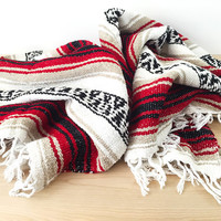 Southwestern Blanket / Vintage Mexican Striped Throw in Red, Tan, White / Features Aztec and Indian Print / Bohemian Decor / Woven Textile