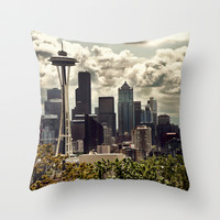 Seattle Skyline from Kerry Park , Seattle Art, Space Needle, Retro Wall Art, Fine Art Photography Throw Pillow by Monakhalil | Society6