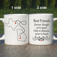 Best friend Mug-Long distance relationship mug-Long distance mug-Long distance gift-Best friends forever-Friendship mug-Gift for friend-Bff