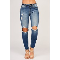 Keep It Classic Distressed KanCan Jeans (Dark Wash)