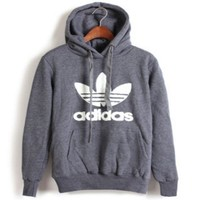 "Womens Gray ""Adidas"" Print Hooded Pullover Tops Sweater Sweatshirts"