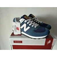 New Balance Stylish Unisex All-Match N Words Breathable Couple Sneakers Shoes Blue I