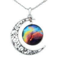 Yantu Red Black Women's Crescent Moon Galactic Universe Cabochon Pendant Necklace Christmas Gift