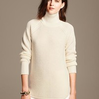 Banana Republic Womens Waffle Knit Pullover Size M Petite - Cocoon
