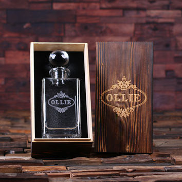 Personalized Whiskey Decanter with Global Bottle Lid and Wood Box