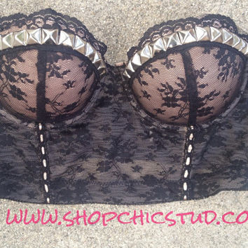 Studded Bustier Bra Top Black and Nude Lace - Silver Studs -