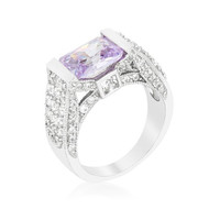 Purple Oval Cut Cocktail Ring, size : 08
