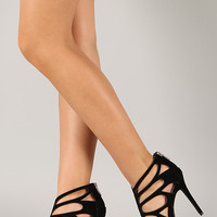 Anne Michelle Rapture-22 Suede Butterfly Caged Cut Out Heel