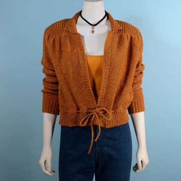Vintage 70s Cropped  Sparkle Sweater Curry Color/ Roller Disco Day to Evening Cardigan Jumper S