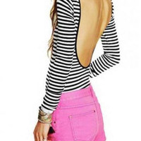 Fashion Style Stripe Design Open Back Polyester T-Shirt