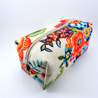 Folk Floral in Red and Blue Makeup Bag, Gadget Case, Under 15, Pencil Case, Medium, Zippered, Cosmetic Case, For Her