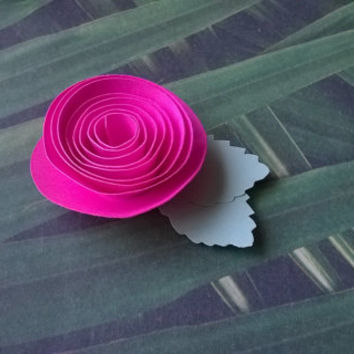 hot pink rose boutonniere groomsman pin back groom paper flower lapel brooch bridal party bridal shower wedding reception family favors