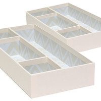 Small Drawer Organizers, Cream, Set of 2, Office Supplies