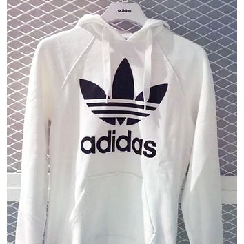 A Adidas Originals Gold Logo Hooded Top Sweater Pullover Sweatshirt White