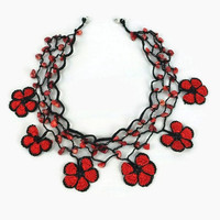 Red And Black Daisy  Flower Crochet Oya Lace Choker Necklace  with Stone Beads -  Beaded Choker - Turkish Oya Jewelry - Knitted Necklace