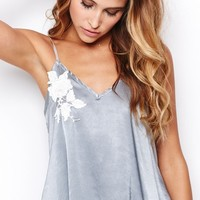 SKIVVIES by For Love & Lemons Le Fleur Night Top in Slate