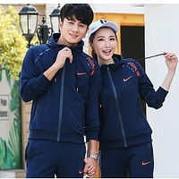 Nike Couple Fashion Casual Long Sleeve Zip Sport Gym Sportswear Set Two-Piece