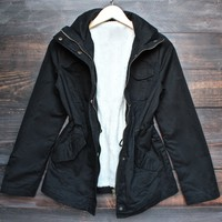 utility parka jacket with faux sherpa lining