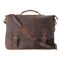 Leather Bags Now 14'' Inches Classic Adult Unisex Cross Shoulder 100% Genuine Leather Messenger Laptop Briefcase Bag Satchel Brown