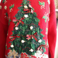 Tiara 1980 vintage ugly Christmas sweater for women size Large 12 or 14
