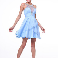 PRIMA C1501 Halter Neck Homecoming Cocktail Dress