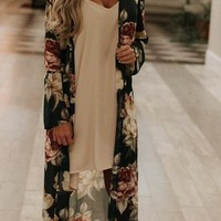 Robyn Duster Kimono- Teal Floral