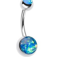 Opalescent Glitter Shower Belly Button Ring