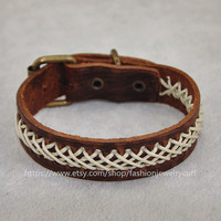 Brown leather bracelet,White ropes woven bracelet,men jewelry bangle leather bracelet,women cuff leather bracelet,buckle bracelet D-7