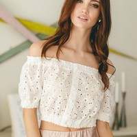 Shaylee White Off the Shoulder Eyelet Crop Top