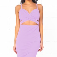 Indie XO Total Bombshell Lavender Lilac Light Purple Spaghetti Strap V Neck Cut Out Bodycon Midi Dress - Just Ours!
