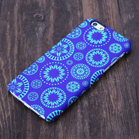 Blue and Green Circle Floral Pattern iPhone 6s Plus/6/5S/5C/5/4S/4 Protective Case #559
