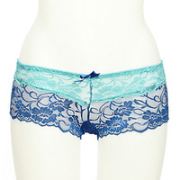 Two Tone Navy and Teal Lace Boyshort Panties