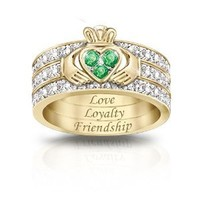 Blessing Of The Claddagh Emerald & Diamond Hidden Message Ring by The Bradford Exchange