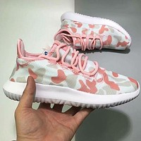 ADIDAS Camouflage Color Woman Men Fashion Sneakers Sport Shoes Pink