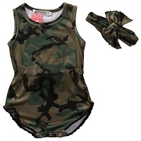 Summer born Baby Boy Girl Clothes Sleeveless Camouflage Romper +Headband 2PCS Outfits Kids