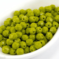Olive green beads, 6mm faceted glass beads (35) Czech fire polished, Opaque