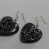 Handmade small polymer clay black heart shaped dangling earrings with flowers